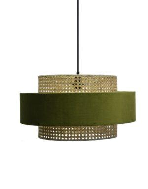 norsk design lampe i rotting med oliven farget stoff fra Falch & Frische